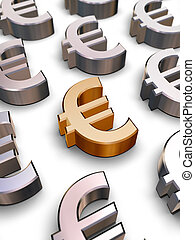 3D Euro symbols - A single golden Euro symbol surrounded by...