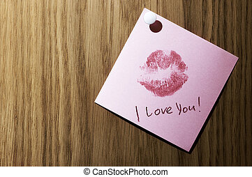 I love you - note with hot kiss