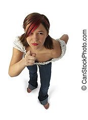 Angry Young Woman Pointing Towards Camera - Angry young...