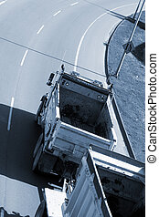 truck on road - blue image truck on road