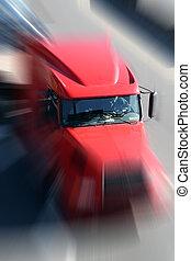 vermelho, caminhão