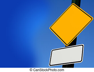 road sign over blue