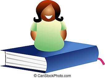 book woman - woman sitting on a book