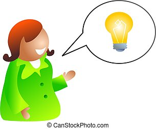 idea talk - icon people version of a woman sharing her ideas