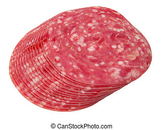 Salami slices-clipping path - Salami slices arrangement...