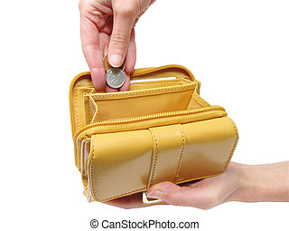 Wallet and hands-clipping path - Woman hands putting coins...