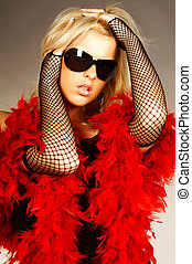 Red feathers - Blonde sexy young women wearing black...