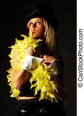 Hat women - Pretty blonde women on black background wearing...