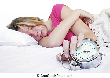 Waked Up - Woman in bed with alarm clock