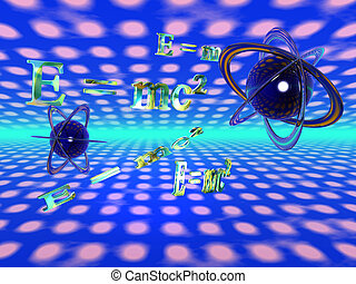 E=mc, theoretical physics - 3D illustration, background, of...