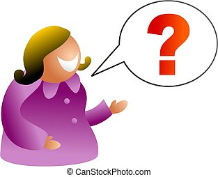 question talk - icon woman asking questions