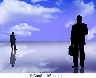 silhouettes and reflections - businessmen