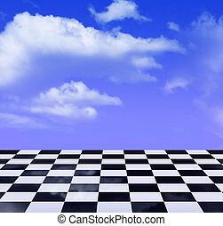 black-and-white pattern and blue sky - black-and-white...