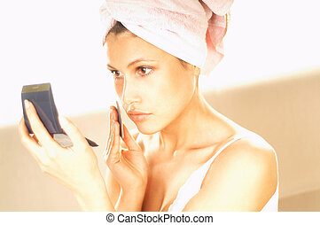 Girl doing makeup - Pretty young brunette girl doing morning...