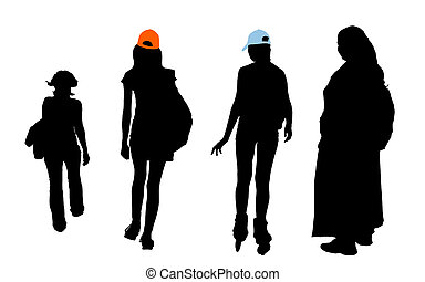 isolated figures - different types of girls with clipping...