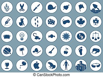 Icons 2 - 35 Various Icons on blue background. Each icon is...
