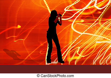 singer girl with clipping path