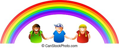 rainbow kids - happy kids standing together under a rainbow