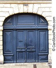 Old stylish door - Ancient residential blue door