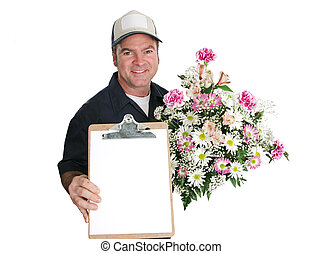 Sign For Flowers - A flower delivery man holding a beautiful...