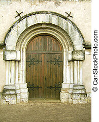 Church entrance - Medieval gothic church door