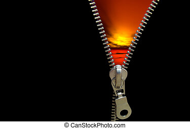 Zipper concept. Revealing the last day/night/sunset