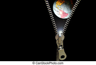 Zipper concept Revealing planetary, education, astronomy