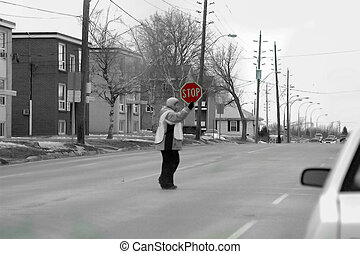 crossing - school crossing guard.