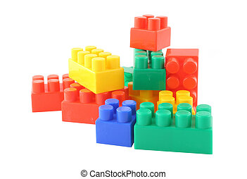 stack of colorful building blocks - pure white background