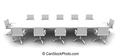 White Meeting room 2 - 3D rendered Boardroom Sterile white...