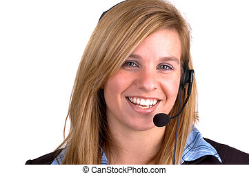 Customer Service - Attractive Blond Young Woman With A...