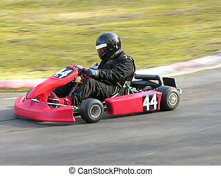 Red Go Kart - A racing red go kart.