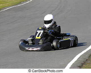 Racing Go Kart - A black racing go kart.