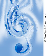 Music-Treble Clef - Music - Treble Clef - Abstract Computer...