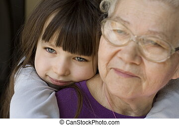 happy with grandma - girl with grandma