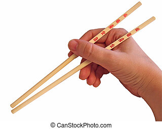 Hand and chopsticks - A hand holding chopsticks
