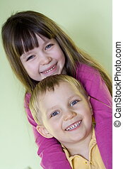 children - happy sister and brother
