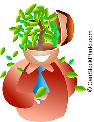 tree brain - icon man with a lush tree growing out of his...