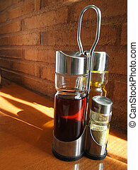 spain restaurant lifestyle - vinegar and olive oil in...