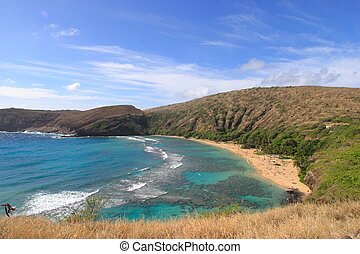 Hanauma bay on Hawaii-aerial view