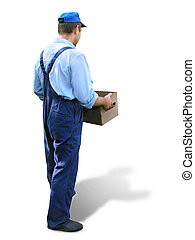 Worker carrying box - Worker in working clothes, carrying a...