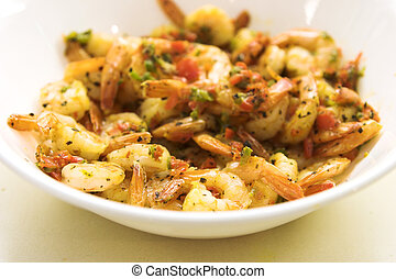 Spicy Shrimps - Delicious dish of sauted shrimp made with...