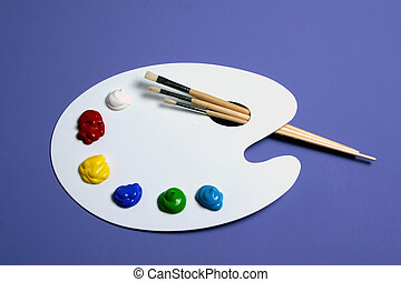 Artist Paint Palette with Paints and Brushes, Symbolic of...