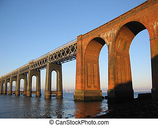 Tay Rail  Bridge and Dundee from Fife, Scotland
