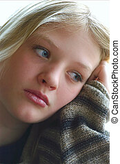 thinking - beautiful teen looking out window