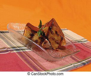 Bread cake - Freshly baked bread cake with raisins and syrup