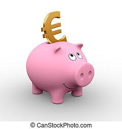 European piggy bank - A golden Euro in a pink piggy bank (3D...