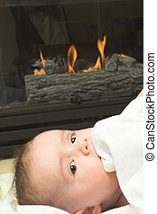 fireplace - baby and fireplace