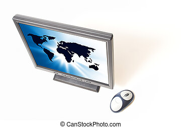 flat screen with world map on display