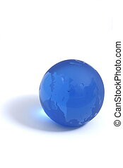 Blue Globe - Blue globe paperweight displaying Asia